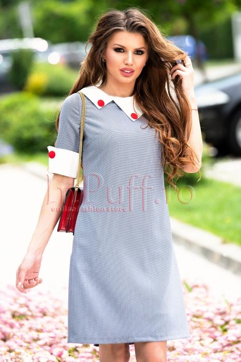 Rochie MBG cu imprimeu alb-bleumarin si guler alb