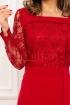 Rochie MBG rosie cu broderie si nasturi aplicati