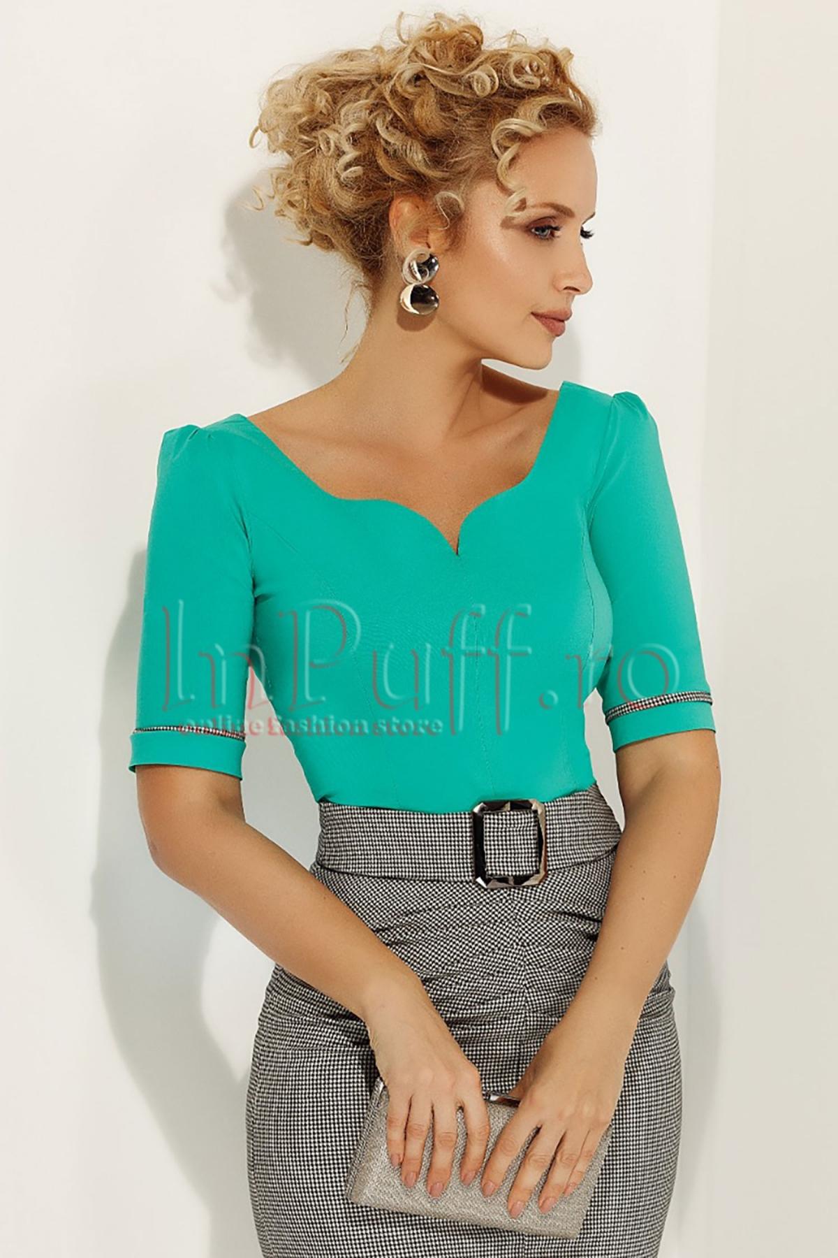Bluza Fofy eleganta verde turcoaz cu insertie pe maneca