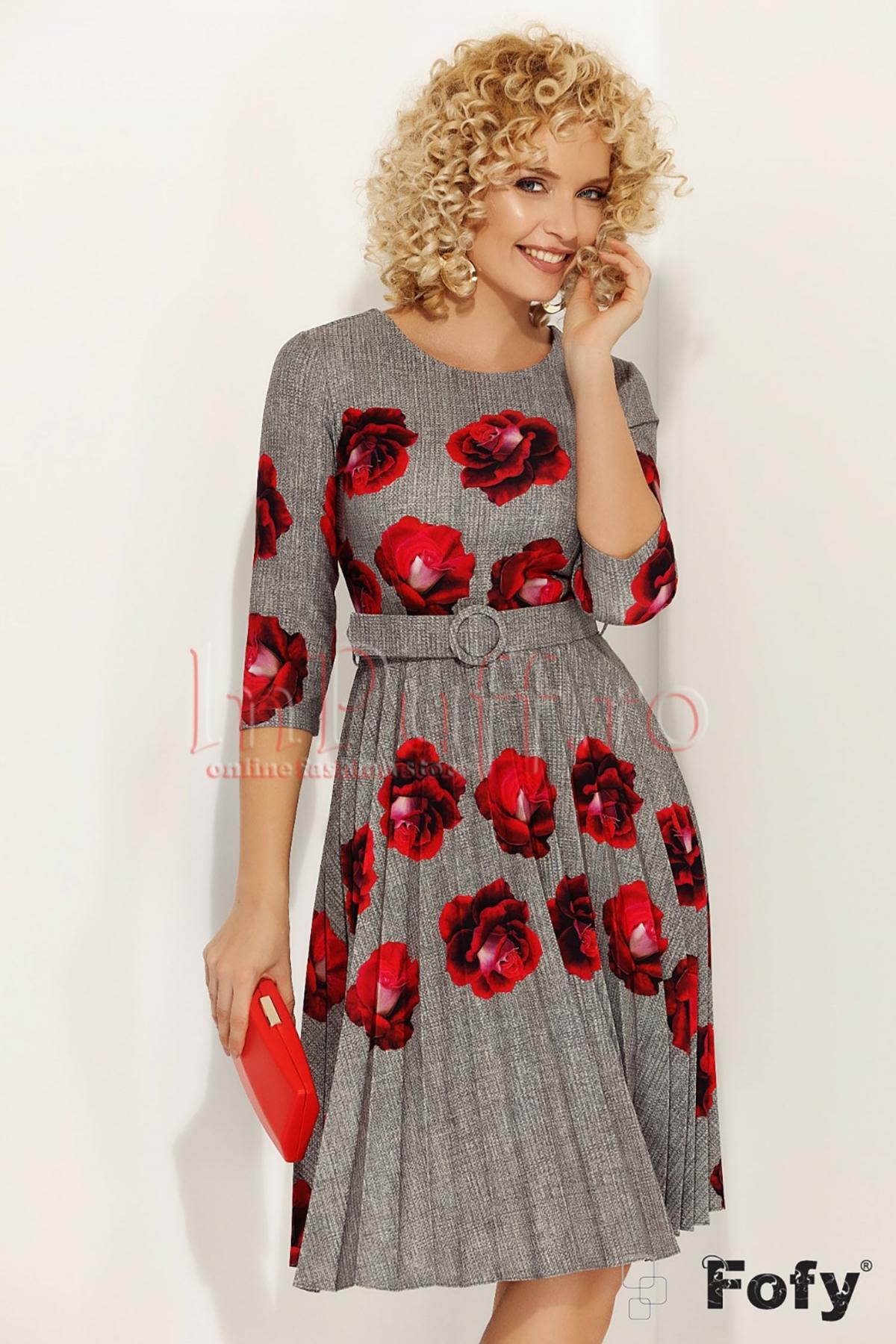 Rochie Fofy pliuri gri cu imprimeu floral rosu