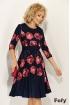 Rochie Fofy pliuri bleumarin cu imprimeu floral rosu