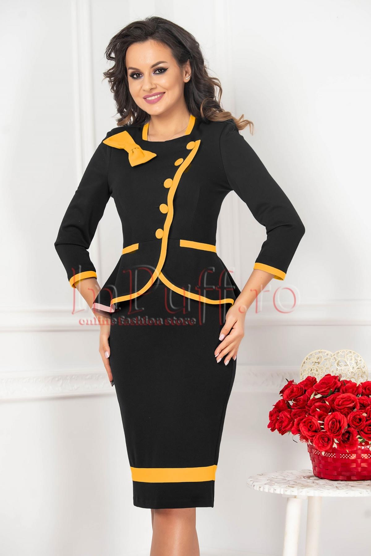 Compleu dama MBG din stofa negru cu insertii galben mustar