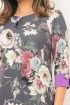 Rochie MBG imprimeu floral si insertii mov