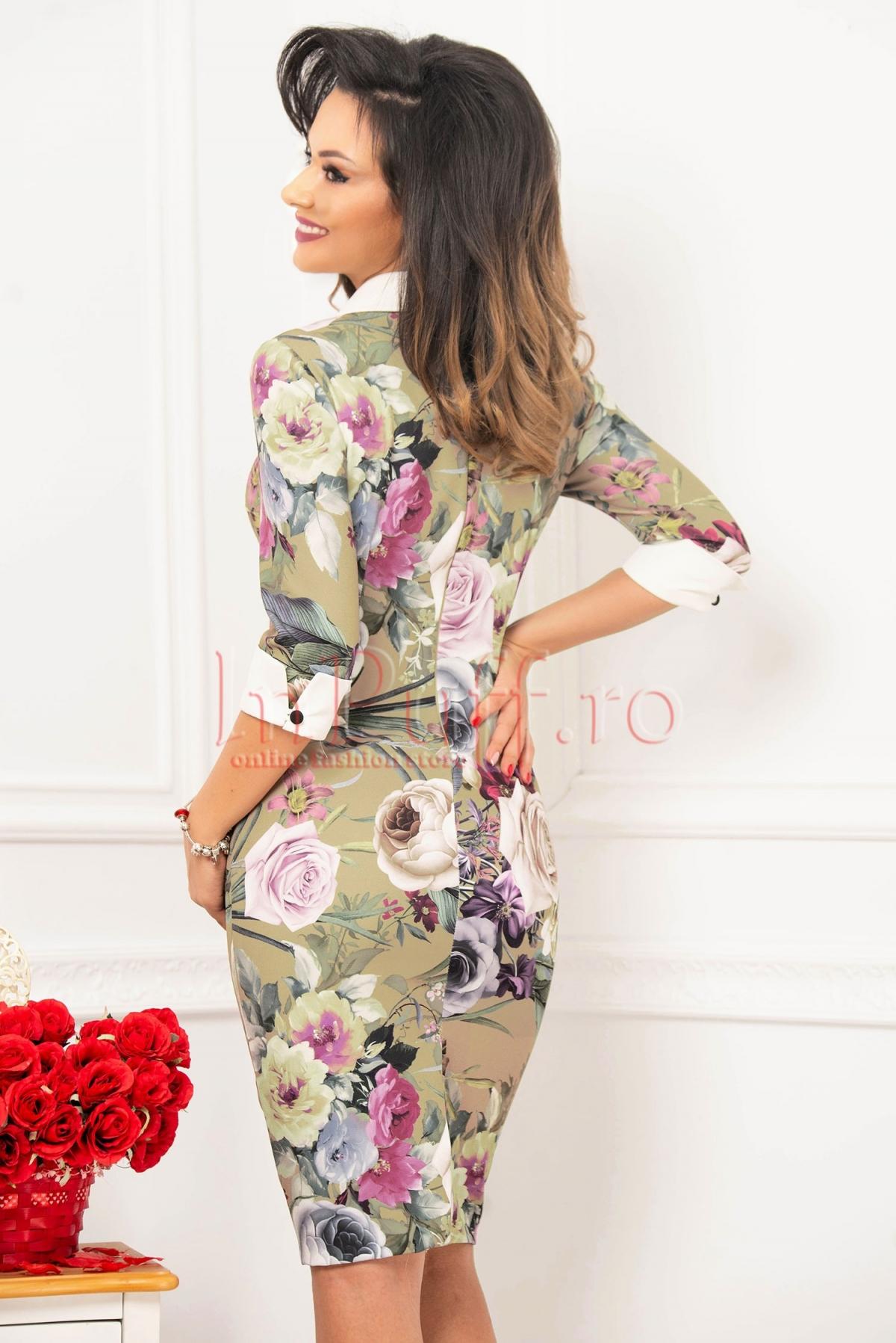 Rochie MBG cu imprimeu floral si brosa detasabila
