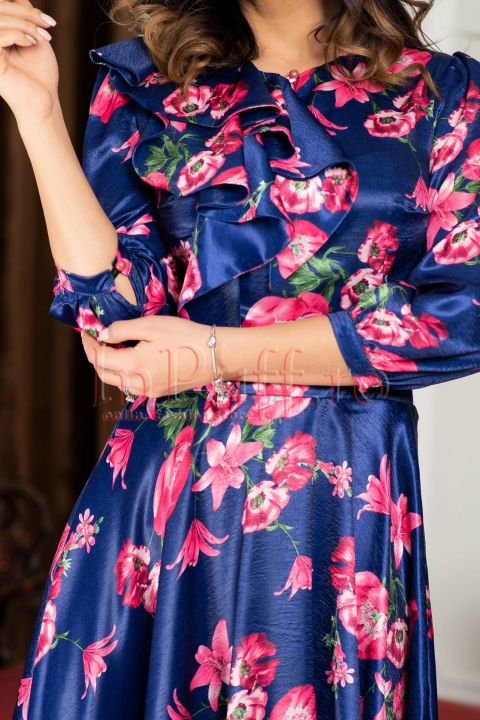 Rochie MBG clos satin bleumarin cu imprimeu floral