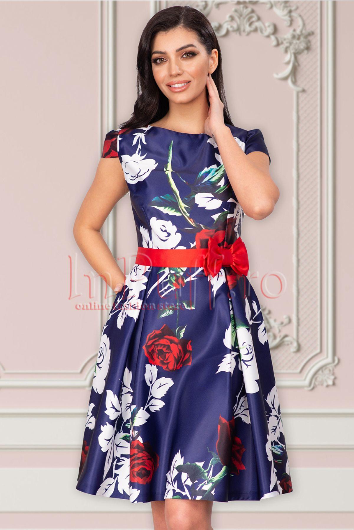 Rochie MBG eleganta bleumarin cu imprimeu floral deosebit