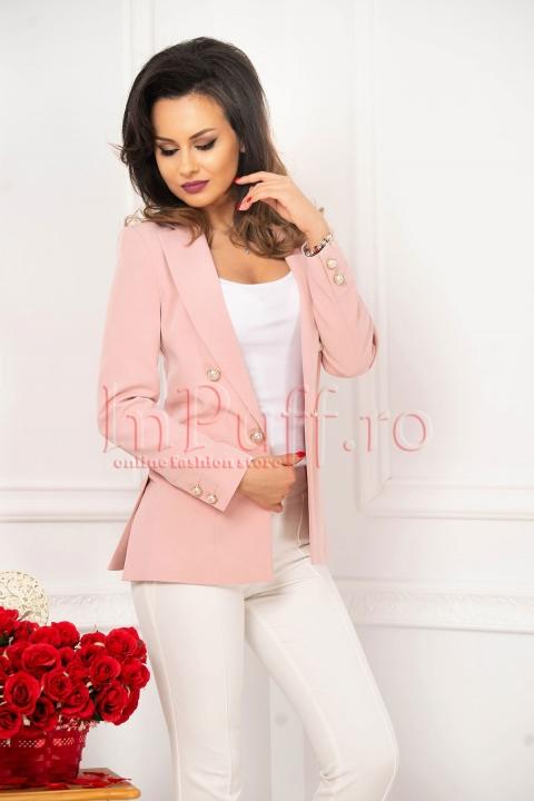 Sacou tip blazer roz pudra cu nasturi tip perla