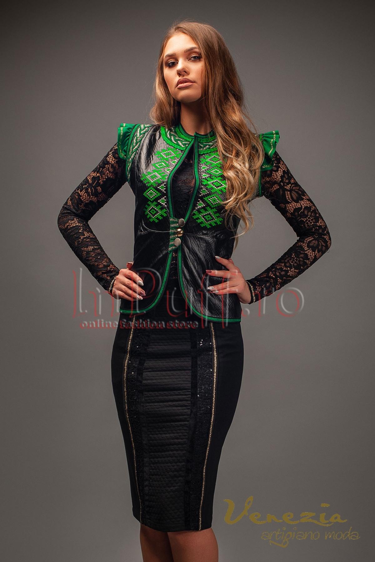 Vesta Venezia din piele ecologica neagra cu broderie verde thumbnail