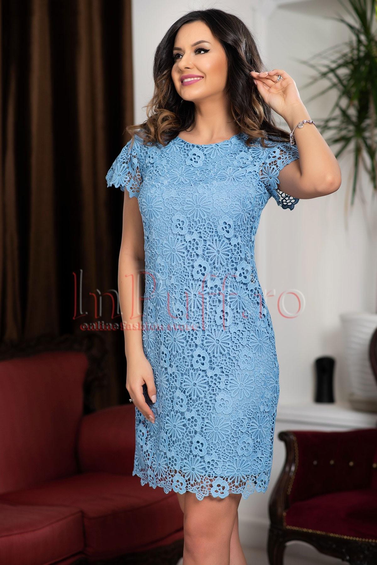 Rochie din broderie bleu cu maneca scurta thumbnail