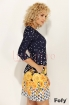 Rochie Fofy bleumarin cu imprimeu flori galbene