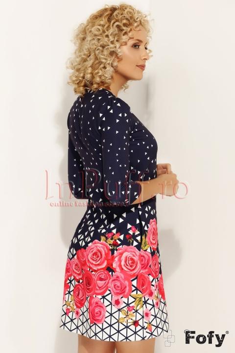 Rochie Fofy bleumarin cu imprimeu flori roz