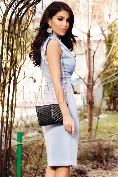 Rochie Atmosphere bleu eleganta si cordon in talie