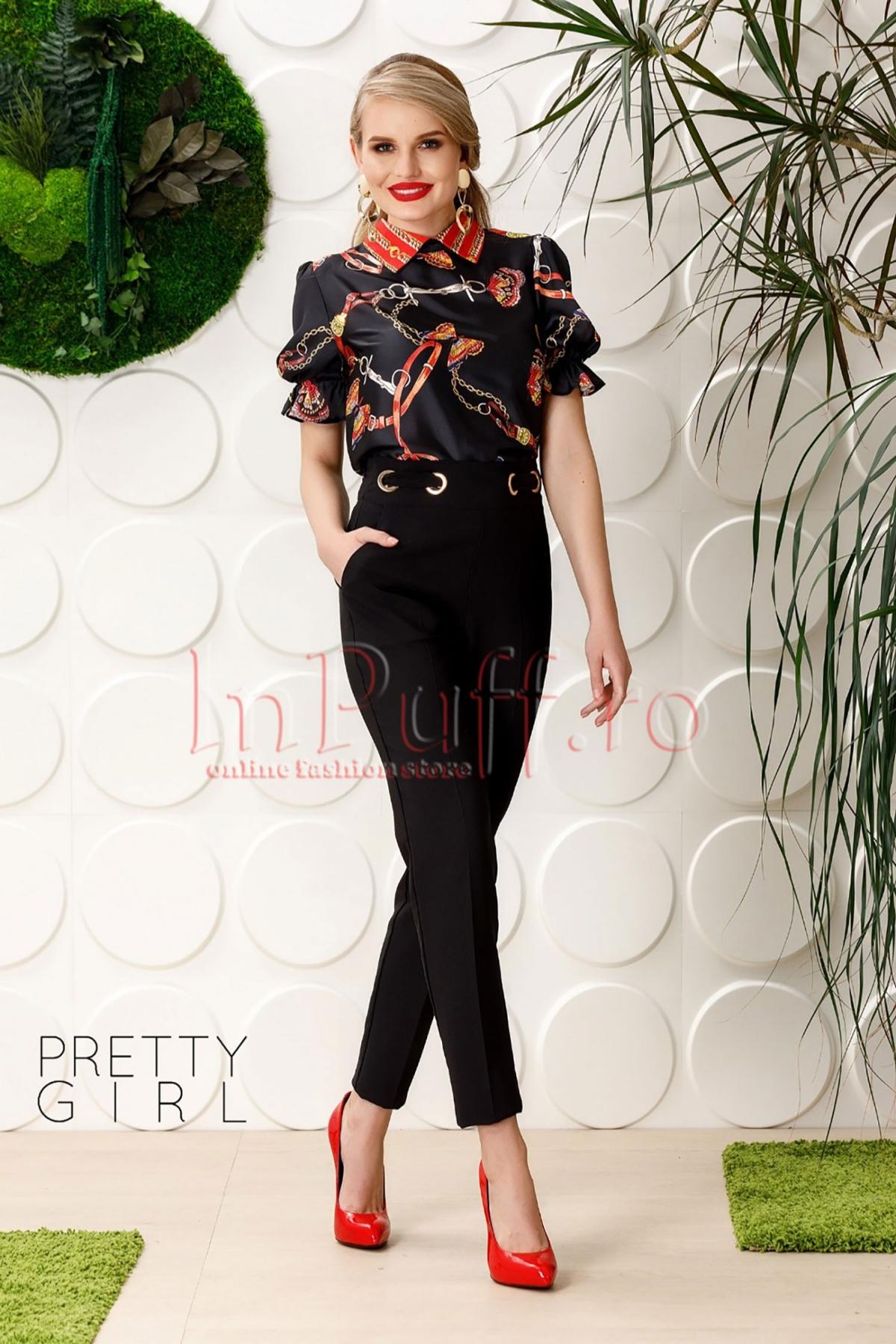 Bluza Pretty neagra cu imprimeu