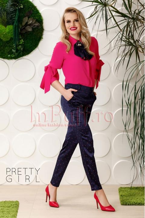 Pantaloni Pretty satin bleumarin cu buline fucsia