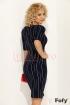 Rochie Fofy bleumarin cu dungi albe verticale