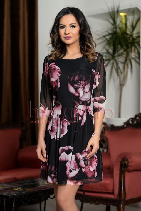 Rochie neagra din tul cu imprimeu floral