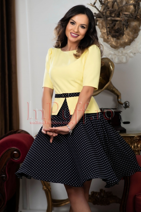 Rochie MBG tip compleu galben cu negru si buline albe