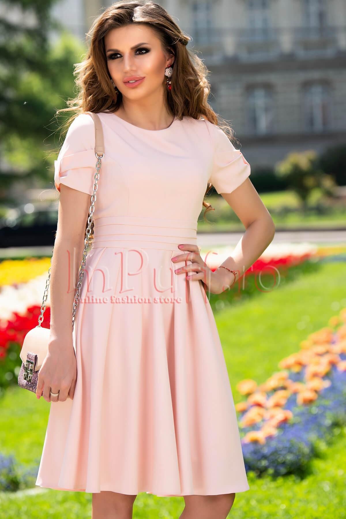 Rochie MBG roz lejera cu maneca creata MBG-Collection