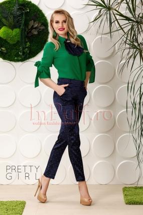 Pantaloni Pretty satin bleumarin cu buline verzi