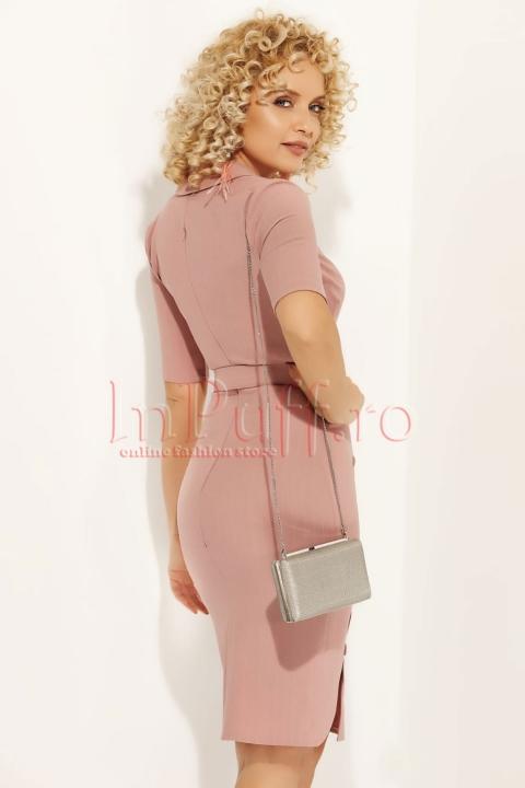 Rochie Fofy roz cu decolteu petrecut