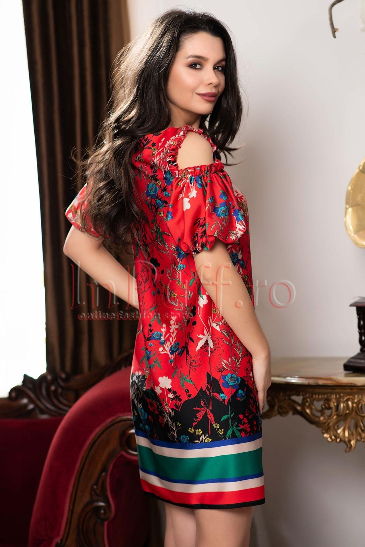 Rochie Xara rosie cu imprimeu multicolor
