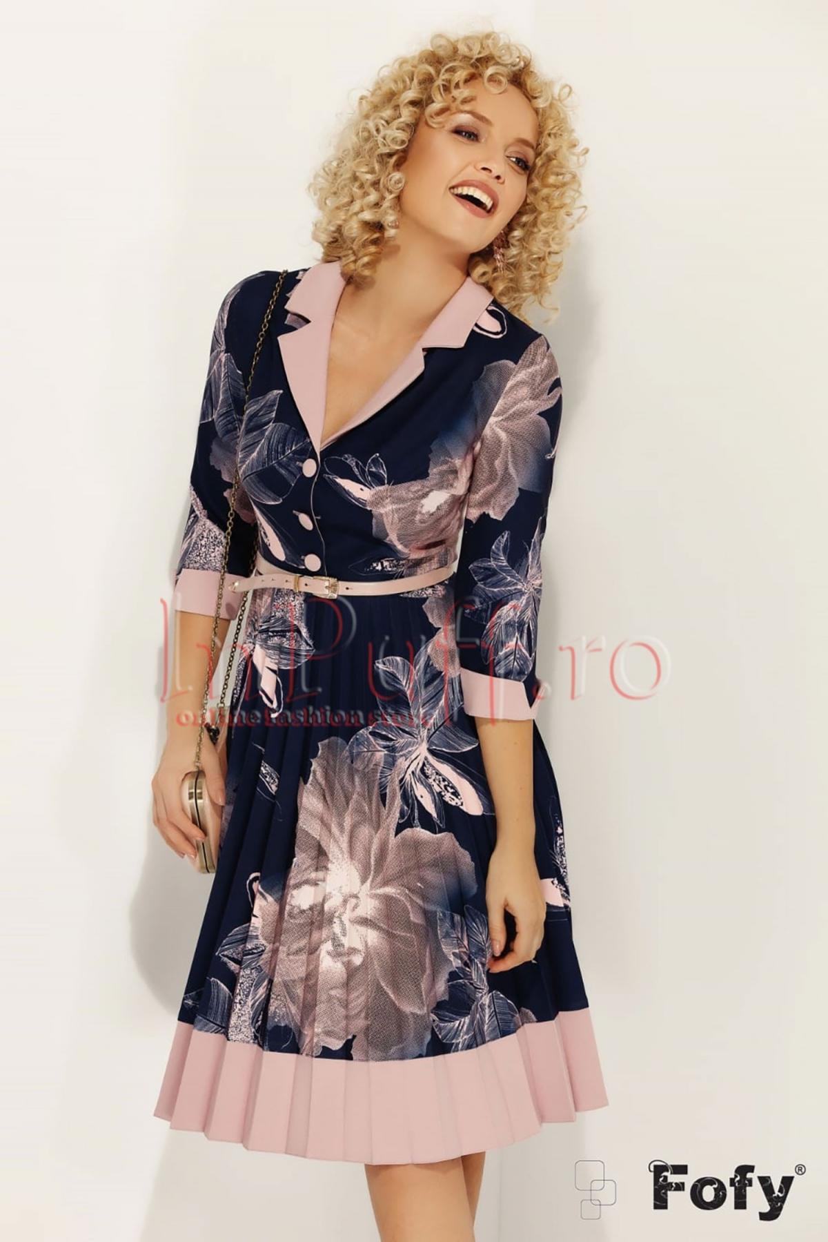 Rochie Fofy bleumarin cu imprimeu floral roz
