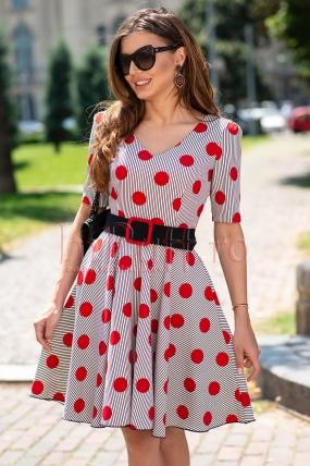 Rochie Fofy dungi alb cu negru si buline rosii