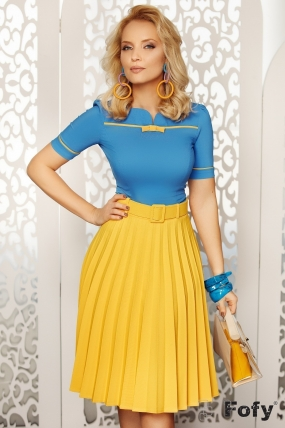 Bluza dama eleganta albastra cu insertie si fundita galben mustar Fofy