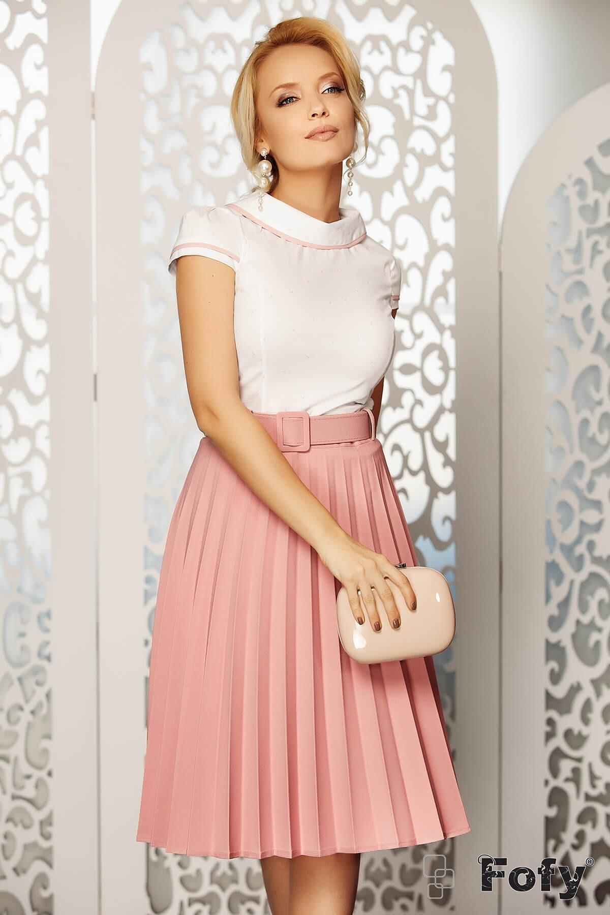 Bluza dama eleganta alba cu imprimeu flamingo roz pal Fofy