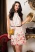 Rochie Raspberry din voal cu imprimeu predominant rosu si curea in talie
