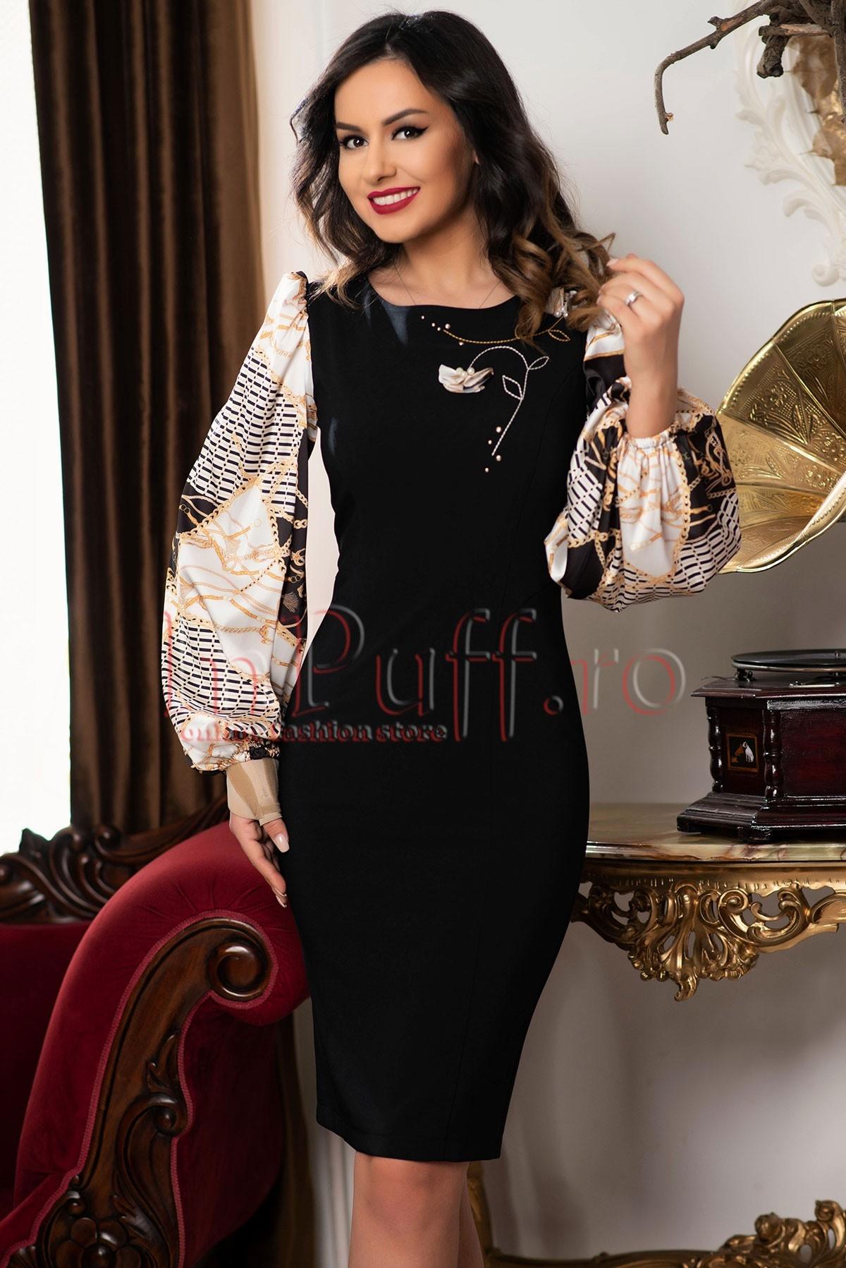 Rochie neagra eleganta cu maneci bufante cu imprimeu