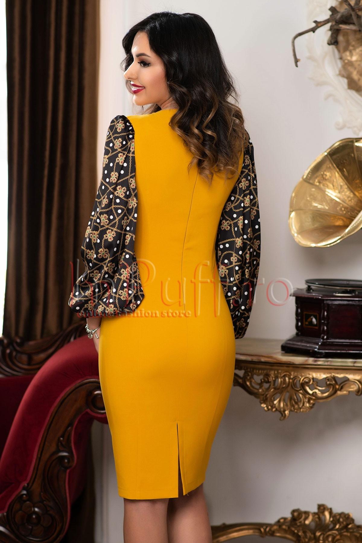 informații despre lansare pe îmbrăcăminte sport de performanță economii fantastice Rochie eleganta midi galben mustar eleganta cu maneci bufante cu ...