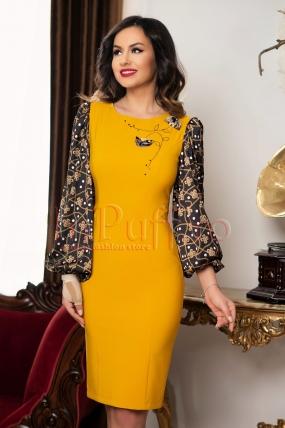 Rochie eleganta midi galben mustar eleganta cu maneci bufante cu imprimeu