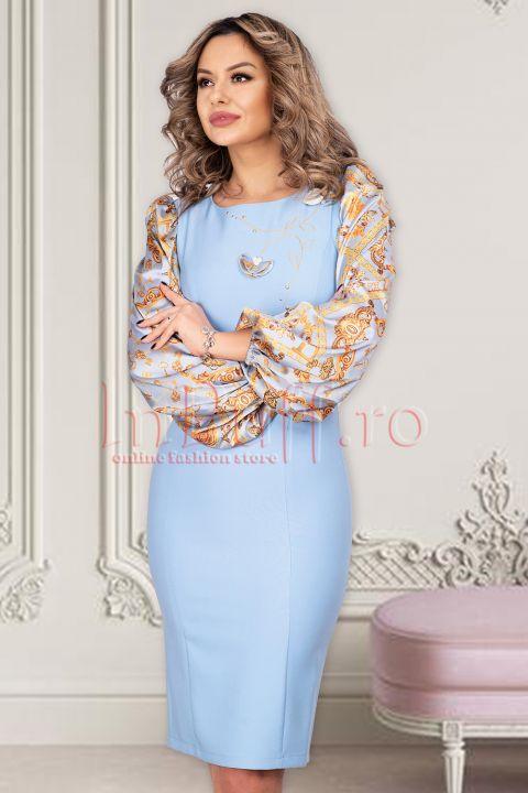 Rochie bleu eleganta cu maneci bufante cu imprimeu
