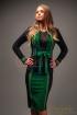 Fusta Venezia neagra conica cu insertie verde si fir auriu