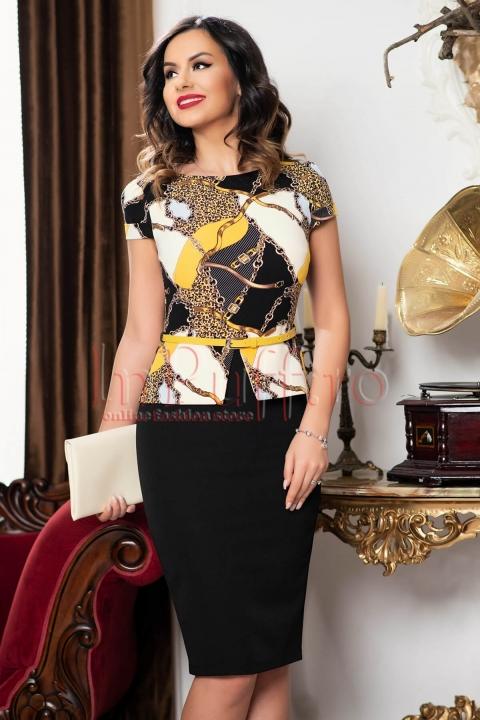 Rochie eleganta neagra tip compleu  cu imprimeu multicolor si curea in talie