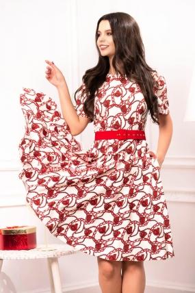 Rochie midi alba cu imprimeu rosu si curea in talie