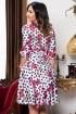 Rochie eleganta satin alba cu imprimeu floral si buline