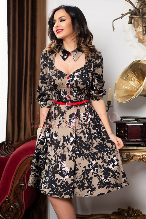 Rochie midi clos capuccino cu imprimeu floral