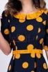 Rochie bleumarin cu buline si insertie dantela galben mustar
