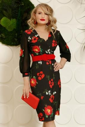 Rochie  neagra midi petrecuta cu imprimeu floral rosu