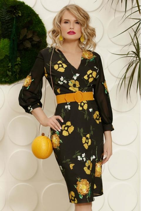 Rochie neagra midi petrecuta cu imprimeu floral galben mustar