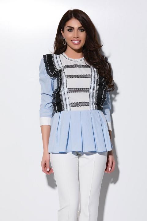 Bluza dama bleu cu volanase si maneca trei sferturi Atmosphere