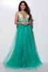Rochie lunga eleganta turquoise din tul Atmosphere