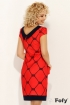 Rochie de zi midi rosie cu maneca scurta si imprimeu negru Fofy