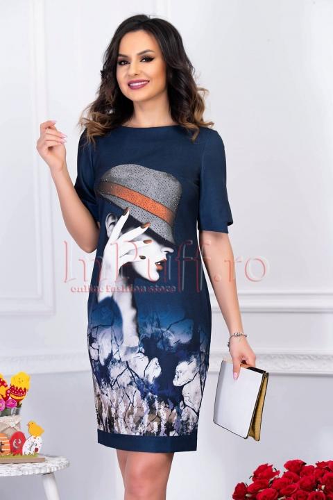 Rochie de zi bleumarin midi casual cu maneca scurta si  imprimeu
