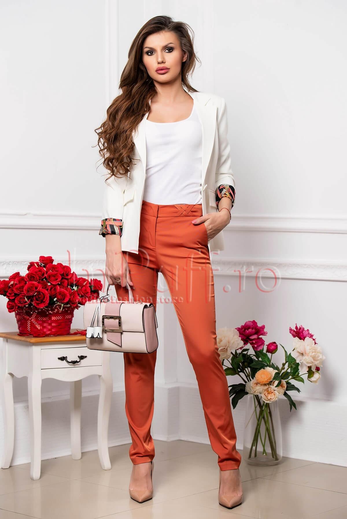 Pantaloni dama lungi office caramiziu cu impletituri in talie