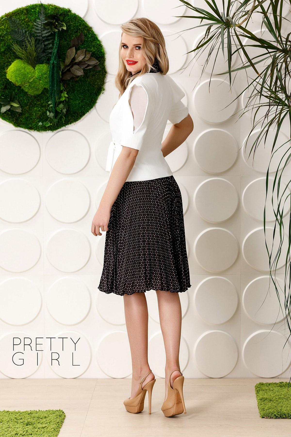 Set Fusta midi plisata cu imprimeu alb negru si cravata