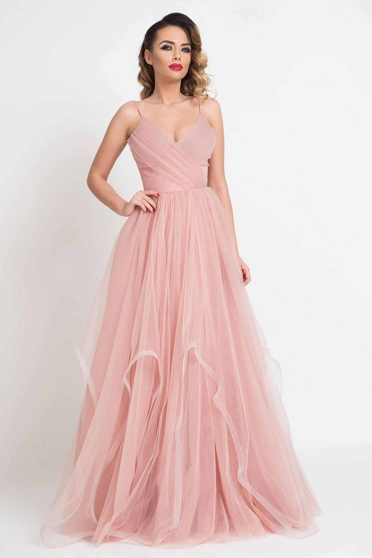 Rochie de lux lunga roz pal din tul