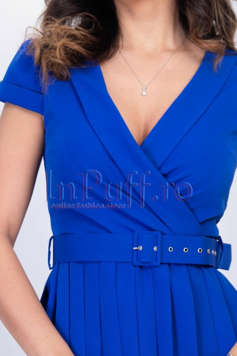 Rochie albastra midi plisata cu decolteu in V si curea in talie